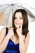 Shy Woman With Umbrella