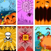Collection of six Halloween scenes