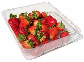 A Punnet Of Fresh Strawberries Isolated On White.