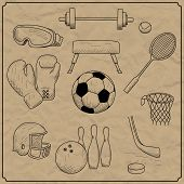 vector illustration of objects on the topic of sports
