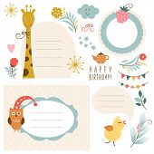 Set of animals illustrations and graphic elements for invitation cards, party invitation, holiday gi