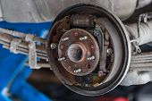 foto of overhauling  - Rusty Drum Brake waiting for Maintenance in Service Garage closeup