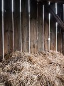 foto of barn house  - Straw in the old barn with timber wall - JPG