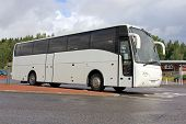 White Modern Volvo Coach Bus