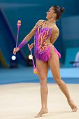 KIEV, UKRAINE - AUGUST 29: Natalia Garcia of Spain in action during the 32nd Rhythmic Gymnastics Wor