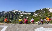 Amateur Cyclists On Col De Pailheres