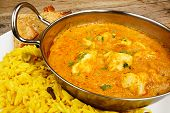 Chicken Korma In Balti Dish With Rice