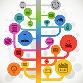 Abstract color media tree with modern icons