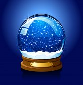 Christmas Snow globe on blue background