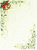 stock photo of yule  - Decorative grunge background with floral elements and Christmas bells - JPG