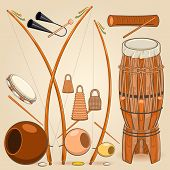 image of drum-set  - Brazilian Capoeira Music Instruments Such as Berimbau - JPG