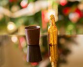 Miniature Liqueur Bottle By Chocolate Cup