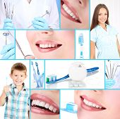stock photo of prosthetics  - Collage of photographs on the theme of healthy teeth - JPG