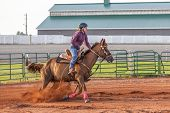 picture of barrel racer  - Young woman competing in a pole bending equestrian competition - JPG