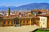 skyline of the city and back view of Palazzo Pitti, facing Boboli Gardens, in Florence, Italy