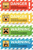 stock photo of biological hazard  - Danger sign banner with warning text - JPG