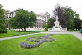 picture of mozart  - Mozart Monument in Maria Theresien square Wien Austria - JPG