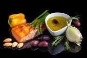 stock photo of salmon steak  - Mediterranean omega - JPG