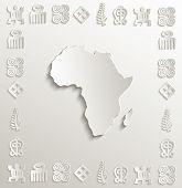 vector Africa map symbol frame paper 3D