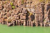 Basalt Rock Columns Of Miles Canyon Yukon Canada
