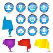 set of origami banners with web icons on a white background