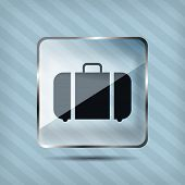 glass baggage icon on striped background