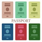 foto of passport cover  - Illustration of a collection of passport book - JPG