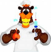Bear cheerful doctor with an enema  and syringe