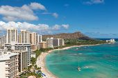 stock photo of waikiki  - Scenic view of Honolulu city and Waikiki Beach - JPG