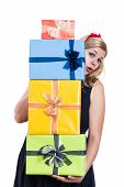Surprised woman with presents