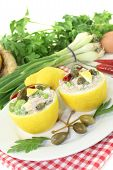 Stuffed Lemons With Tuna Cream, Capers And Eggs