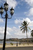 picture of malecon  - the malecon seaside boardwalk pedestrian path by beach in san juan del sur nicaragua central america developing tourist town - JPG