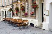 Empty street cafe, Bath, England