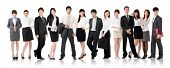 Asian business team, businesswomen and businessmen in group standing and looking at you, isolated on