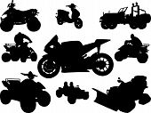 pic of dragster  - Transportation silhouette vector image with car bike scooter - JPG