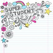 Super Student Back to School Praise Hand Lettering Sketchy Notebook Doodles- Hand-Drawn Illustration