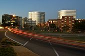 foto of rosslyn  - TRAFFIC TRAILS IN ROSSLYN VIRGINIA DURING TWILIGHT OR DUSK - JPG