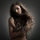 Beautiful Woman. Fluttering Long Hair.