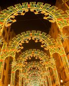 Beautiful night lights in Fallas fest of Valencia in calle Sueca street Spain