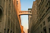 pic of skyway bridge  - A walkway connecting two office buildings high above the street - JPG