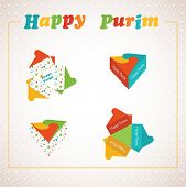 image of purim  - Template of a Purim box for Purim Gift - JPG