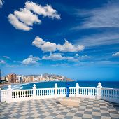 picture of balustrade  - Benidorm balcon del Mediterraneo Mediterranean sea white balustrade in Alicante Spain - JPG