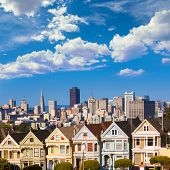 Alamo square The Painted Ladies of San Francisco victorian houses in a row at California USA