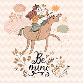 Little girl riding on pink horse with bow. Cute zodiac sign - Sagittarius. Vector illustration.