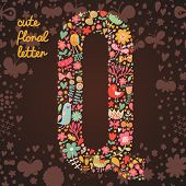 The letter Q. Bright floral element of colorful alphabet made from birds, flowers, petals, hearts an