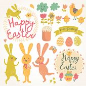 Happy easter vector set in vector. Cute rabbits, eggs, chicken, text, tasty cake in stylish colors. Concept holiday spring cartoon collection