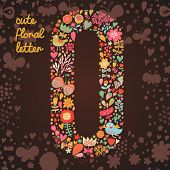 The letter O. Bright floral element of colorful alphabet made from birds, flowers, petals, hearts an