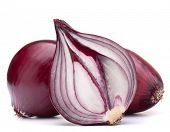red onion bulb half isolated on white background cutout
