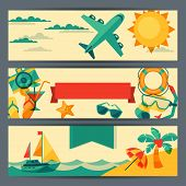 Travel and tourism horizontal banners.