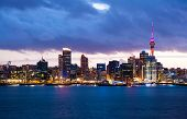Skyline photo of the biggest city in the New Zealand, Auckland. The photo was taken after sunset acr